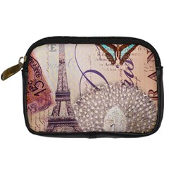 White Peacock Paris Eiffel Tower Vintage Bird Butterfly French Botanical Art Digital Camera Leather Case by chicelegantboutique