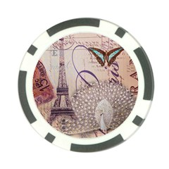 White Peacock Paris Eiffel Tower Vintage Bird Butterfly French Botanical Art Poker Chip 10 Pack by chicelegantboutique