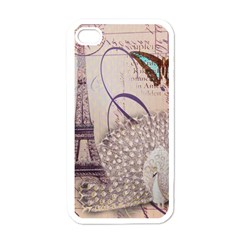 White Peacock Paris Eiffel Tower Vintage Bird Butterfly French Botanical Art Apple Iphone 4 Case (white) by chicelegantboutique