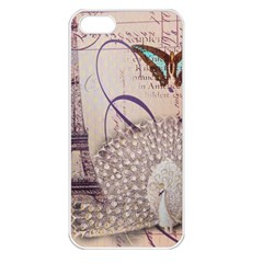 White Peacock Paris Eiffel Tower Vintage Bird Butterfly French Botanical Art Apple Iphone 5 Seamless Case (white) by chicelegantboutique
