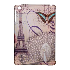 White Peacock Paris Eiffel Tower Vintage Bird Butterfly French Botanical Art Apple Ipad Mini Hardshell Case (compatible With Smart Cover) by chicelegantboutique