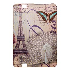 White Peacock Paris Eiffel Tower Vintage Bird Butterfly French Botanical Art Kindle Fire Hd 8 9  Hardshell Case by chicelegantboutique