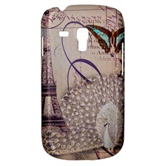 White Peacock Paris Eiffel Tower Vintage Bird Butterfly French Botanical Art Samsung Galaxy S3 Mini I8190 Hardshell Case by chicelegantboutique