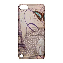 White Peacock Paris Eiffel Tower Vintage Bird Butterfly French Botanical Art Apple Ipod Touch 5 Hardshell Case With Stand by chicelegantboutique