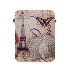 White Peacock Paris Eiffel Tower Vintage Bird Butterfly French Botanical Art Apple Ipad 2/3/4 Protective Soft Case by chicelegantboutique