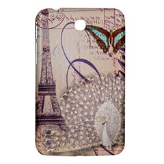 White Peacock Paris Eiffel Tower Vintage Bird Butterfly French Botanical Art Samsung Galaxy Tab 3 (7 ) P3200 Hardshell Case  by chicelegantboutique