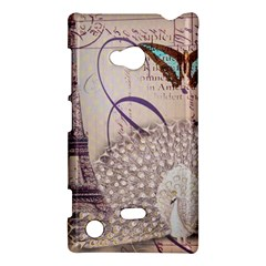White Peacock Paris Eiffel Tower Vintage Bird Butterfly French Botanical Art Nokia Lumia 720 Hardshell Case by chicelegantboutique