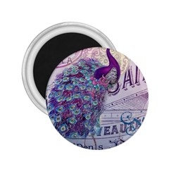 French Scripts  Purple Peacock Floral Paris Decor 2 25  Button Magnet by chicelegantboutique