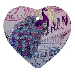 French Scripts  Purple Peacock Floral Paris Decor Heart Ornament by chicelegantboutique
