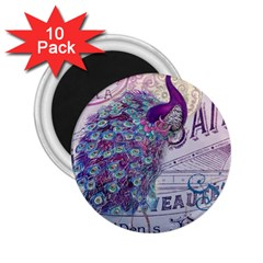 French Scripts  Purple Peacock Floral Paris Decor 2 25  Button Magnet (10 Pack) by chicelegantboutique