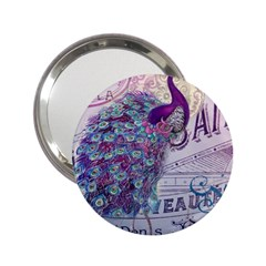 French Scripts  Purple Peacock Floral Paris Decor Handbag Mirror (2 25 ) by chicelegantboutique