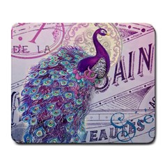 French Scripts  Purple Peacock Floral Paris Decor Large Mouse Pad (rectangle) by chicelegantboutique