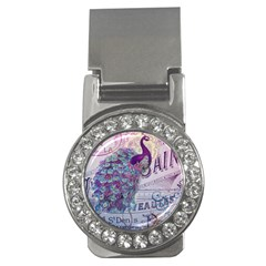 French Scripts  Purple Peacock Floral Paris Decor Money Clip (cz) by chicelegantboutique