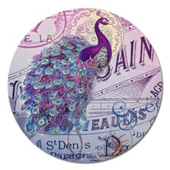 French Scripts  Purple Peacock Floral Paris Decor Magnet 5  (round) by chicelegantboutique