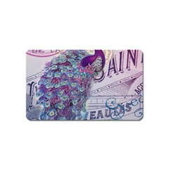 French Scripts  Purple Peacock Floral Paris Decor Magnet (name Card) by chicelegantboutique