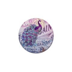 French Scripts  Purple Peacock Floral Paris Decor Golf Ball Marker 10 Pack