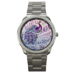 French Scripts  Purple Peacock Floral Paris Decor Sport Metal Watch by chicelegantboutique