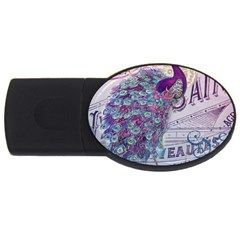 French Scripts  Purple Peacock Floral Paris Decor 4gb Usb Flash Drive (oval) by chicelegantboutique