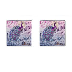 French Scripts  Purple Peacock Floral Paris Decor Cufflinks (square) by chicelegantboutique