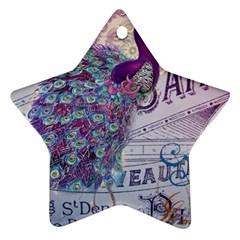 French Scripts  Purple Peacock Floral Paris Decor Star Ornament (two Sides) by chicelegantboutique