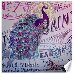 French Scripts  Purple Peacock Floral Paris Decor Canvas 20  X 20  (unframed) by chicelegantboutique