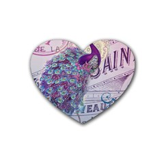 French Scripts  Purple Peacock Floral Paris Decor Drink Coasters (heart) by chicelegantboutique