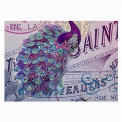 French Scripts  Purple Peacock Floral Paris Decor Glasses Cloth (large, Two Sided) by chicelegantboutique