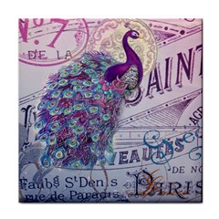 French Scripts  Purple Peacock Floral Paris Decor Face Towel by chicelegantboutique