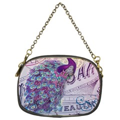 French Scripts  Purple Peacock Floral Paris Decor Chain Purse (two Sided)  by chicelegantboutique
