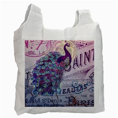 French Scripts  Purple Peacock Floral Paris Decor Recycle Bag (two Sides) by chicelegantboutique