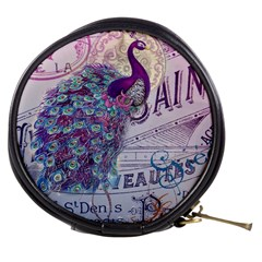 French Scripts  Purple Peacock Floral Paris Decor Mini Makeup Case by chicelegantboutique
