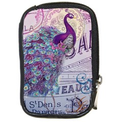 French Scripts  Purple Peacock Floral Paris Decor Compact Camera Leather Case by chicelegantboutique