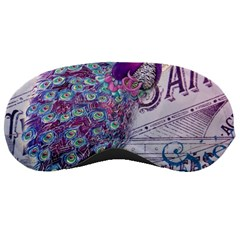 French Scripts  Purple Peacock Floral Paris Decor Sleeping Mask by chicelegantboutique
