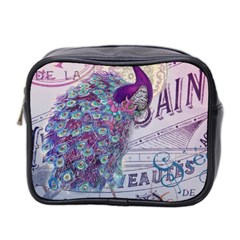 French Scripts  Purple Peacock Floral Paris Decor Mini Travel Toiletry Bag (two Sides) by chicelegantboutique
