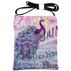 French Scripts  Purple Peacock Floral Paris Decor Shoulder Sling Bag by chicelegantboutique