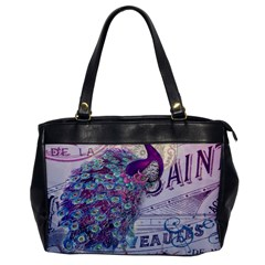 French Scripts  Purple Peacock Floral Paris Decor Oversize Office Handbag (one Side) by chicelegantboutique