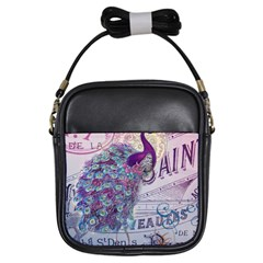 French Scripts  Purple Peacock Floral Paris Decor Girl s Sling Bag by chicelegantboutique