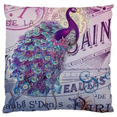 French Scripts  Purple Peacock Floral Paris Decor Large Cushion Case (two Sided)  by chicelegantboutique