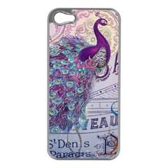 French Scripts  Purple Peacock Floral Paris Decor Apple Iphone 5 Case (silver) by chicelegantboutique