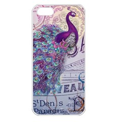 French Scripts  Purple Peacock Floral Paris Decor Apple Iphone 5 Seamless Case (white) by chicelegantboutique