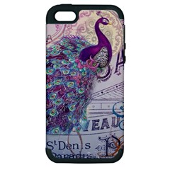 French Scripts  Purple Peacock Floral Paris Decor Apple Iphone 5 Hardshell Case (pc+silicone) by chicelegantboutique