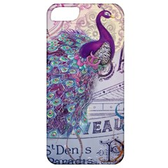 French Scripts  Purple Peacock Floral Paris Decor Apple Iphone 5 Classic Hardshell Case by chicelegantboutique
