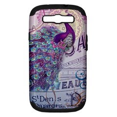 French Scripts  Purple Peacock Floral Paris Decor Samsung Galaxy S Iii Hardshell Case (pc+silicone) by chicelegantboutique