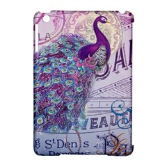 French Scripts  Purple Peacock Floral Paris Decor Apple Ipad Mini Hardshell Case (compatible With Smart Cover) by chicelegantboutique