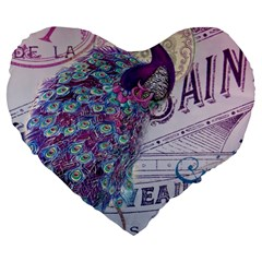 French Scripts  Purple Peacock Floral Paris Decor 19  Premium Heart Shape Cushion by chicelegantboutique