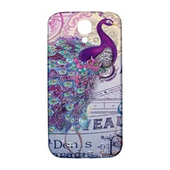 French Scripts  Purple Peacock Floral Paris Decor Samsung Galaxy S4 I9500/i9505  Hardshell Back Case by chicelegantboutique