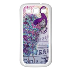 French Scripts  Purple Peacock Floral Paris Decor Samsung Galaxy S3 Back Case (white)