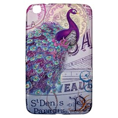 French Scripts  Purple Peacock Floral Paris Decor Samsung Galaxy Tab 3 (8 ) T3100 Hardshell Case  by chicelegantboutique