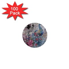 French Vintage Chandelier Blue Peacock Floral Paris Decor 1  Mini Button (100 Pack) by chicelegantboutique