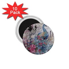 French Vintage Chandelier Blue Peacock Floral Paris Decor 1 75  Button Magnet (10 Pack) by chicelegantboutique